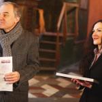 Šéfredaktor Literárních novin Petr Bílek a paní Jitka Švecová ze spolku Glossoli. Foto Jan Hromádko